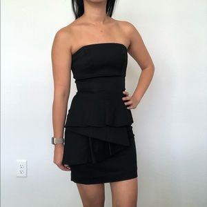 bebe peplum strapless dress black size 0